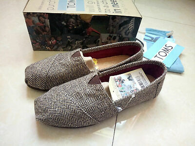 TOMS Womens Cute Classic Gray gold Canvas Tweed Shoes US Size