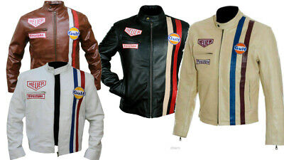 64160a4bd STEVE MCQUEEN LE-MANS Tag Heuer Gulf Striped Style Biker Leather Jacket For  Men