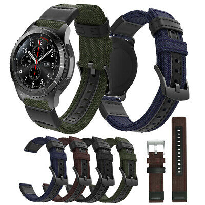 For Samsung Galaxy Watch 42/46mm Gear S2 S3 Genuine Leather+Canvas Strap Band