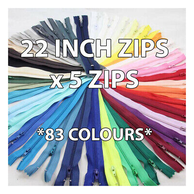 22 INCH No 3 NYLON CLOSED END ZIPS *83 COLOURS* ZIPPERS SEWING HABERDASHERY