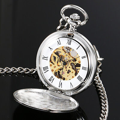 MECHANICAL SKELETON POCKET WATCH FULL HUNTER SILVER CHAIN PENDANT VINTAGE Gift