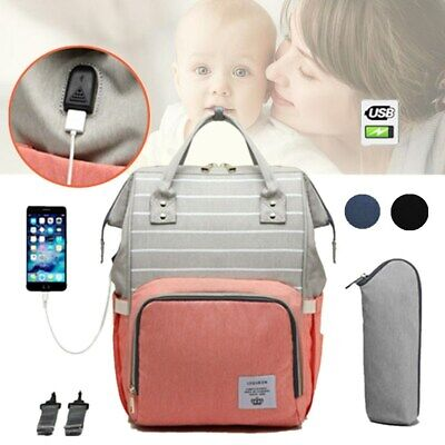LEQUEEN Waterproof Mummy Diaper Baby Bag Maternity Nappy Travel USB Backpack