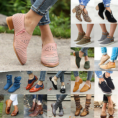 Women Low Block Heels Ankle Boots Casual Chunky Flat Booties Casual Shoes Size