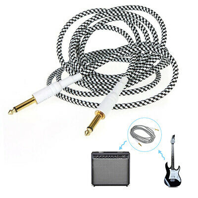 Durable 10ft Woven Electric Guitar Cable  Effect Patch 3m Black+White Braide