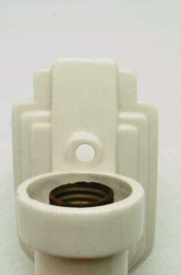 Vintage Art Deco Porcelain Sconce Bathroom Wall Fixture Light White Pull Chain