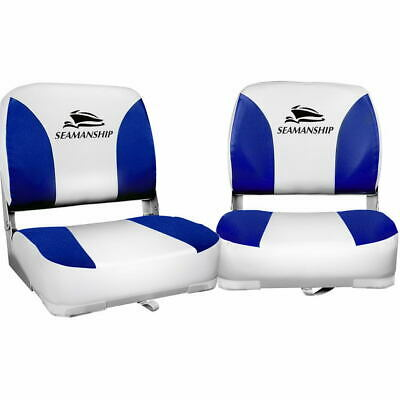 2 Set Swivel Boat Seat Blue Folding All Weather Thick Extra Large Pad Backrest