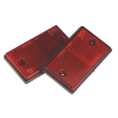 Reflex Reflector Red Oblong Pack of 2   SEALEY TB24