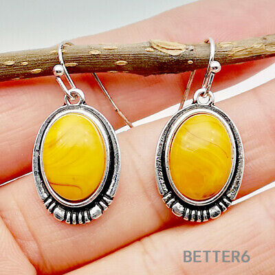 Vintage 925 Silver Jewelry Women Beeswax Drop Dangle Eardrop Wedding Earring