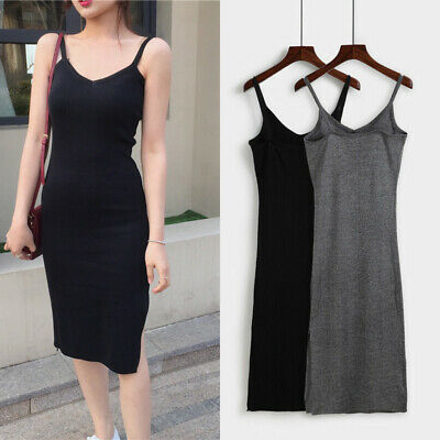 Dress Sleeveless Rib Split Knit Strappy  Dress Tank Slim Womens Midi Party