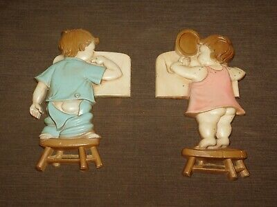 "Vintage 2 9"" 1966 Sexton Metal Boy & Girl On Stool Bathroom Wall Hanging Plaques"
