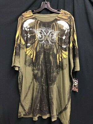 NWT Xtreme couture By Affliction T-shirt SKULL Tattoo Printed Green *3XL