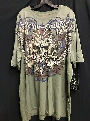 NWT Xtreme couture By Affliction T-shirt SKULL Wings Tattoo Printed Green *3XL