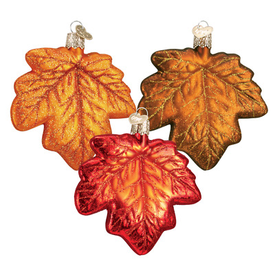 """Maple Leaf"" (Set of 3) (48022)X Old World Christmas Glass Ornament w/ OWC Box"