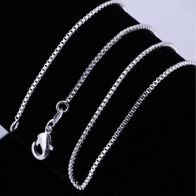Fashion Elegant Stainless Steel Silver Plated Necklace Link Box Chain Size 16-30