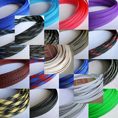 10mm Braided Cable Sleeving/Sheathing Auto Wire Harnessing Sleeve PET Colourful