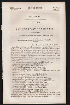 US 1854 House of Rep. Sec. of Navy Use of Ocean Mail Steamers for War Purpose