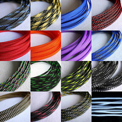 6mm Braided Cable Sleeving/Sheathing - Auto Wire Harnessing Sleeve PET Colourful