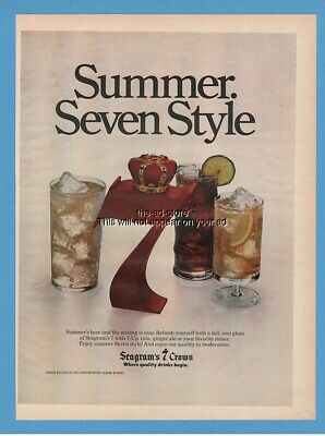 1979 Seagrams 7 Crown Whiskey Summer Drinks Mixers Vintage Photo Print Ad