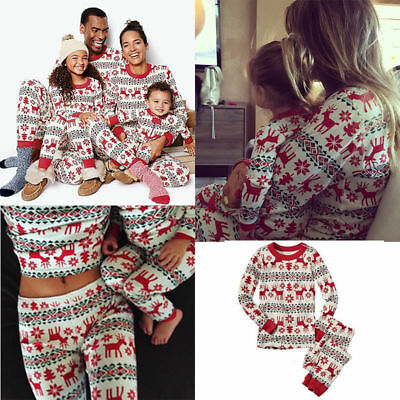 Family Matching Christmas Pajamas Set Xmas Pjs Nightwear Adults Kids Sleepwear