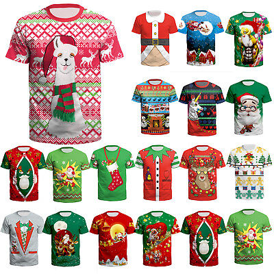Womens Mens Christmas 3D Short Sleeve T-Shirt Xmas Santa Claus Tee Tops Gift