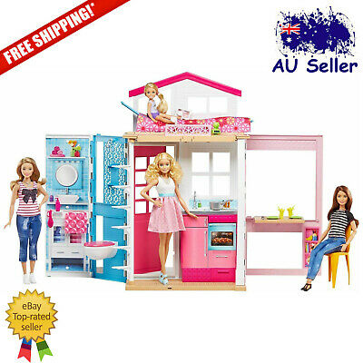 Barbie 2-Story Doll House Playset Home Kitchen Sink Dining Room Kids Toy