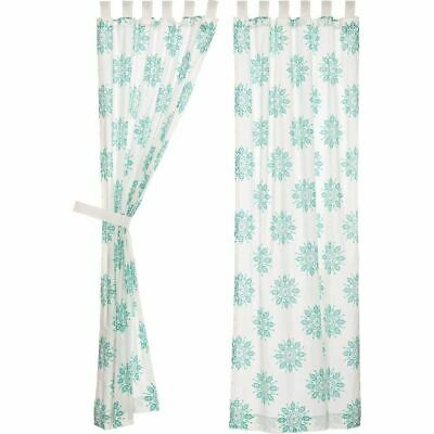 VHC Brands Mariposa Medallion Turquoise Curtains 84x40 Nautical Beach Cottage
