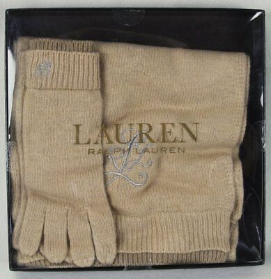 Ralph Lauren Tan Wool Alpaca Scarf Touch Gloves Set Nwt