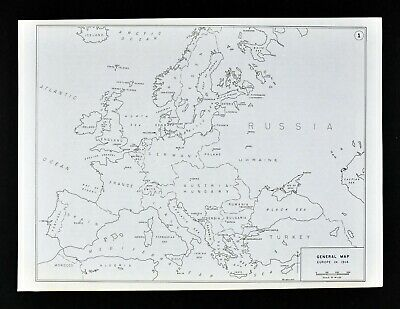 West Point WWI Map Europe in 1914 Germany France Belgium Austria Hungary Russia