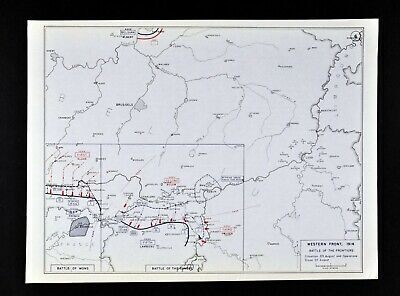 West Point WWI Map Western Front Battle of Frontiers Mons Sambre Belgium France