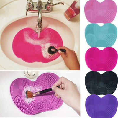 Silicone Makeup Brush Cleaner Cleaning Cosmetic Scrubber Board Mat Pad Tool BS
