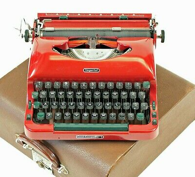 Red Imperial Typewriter Good Companion Model 5 Vintage w/ Case - Fully Working