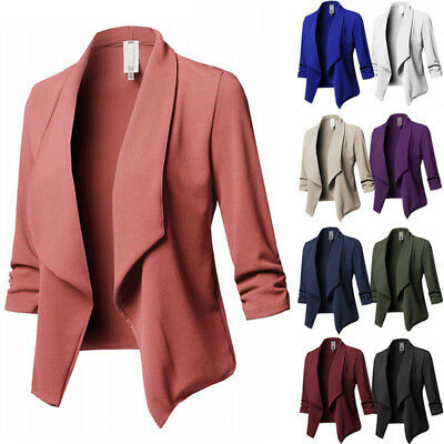 Womens Collar Suit Thin Coat Ladies 3/4 Sleeve Jacket Blazer Cardigan Plus Size