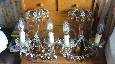 French WALL SCONCES Pampilles Crystal 2 colours