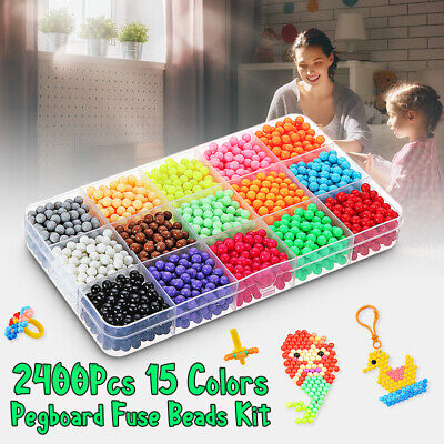 1100Pcs Aqua Refill Fuse Water Bead Sticky Pegboard DIY Craft Art Kids Toy Gift