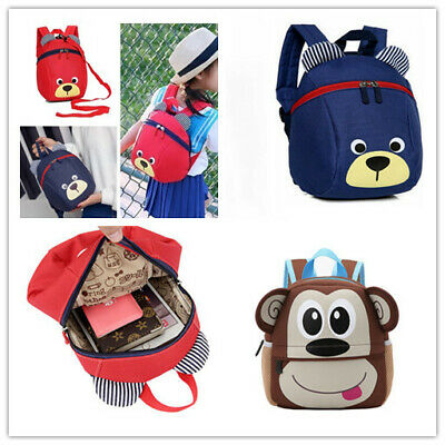 Kids Backpack Cartoon Toddler Walking Safety Harness Strap Shoulder Bag +Reins
