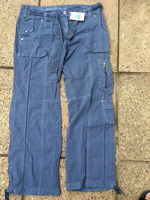 BNWT M/&S  NAVY 100/% COTTON CARGO TROUSERS 12 Med