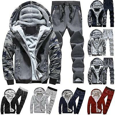 Mens Winter Gym Tracksuit Joggers Hoodies Sweatshirt Pants Outwear Outfits Set
