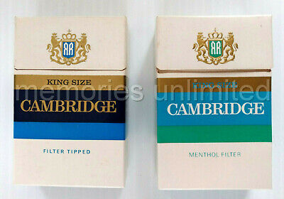 1960s CAMBRIDGE 20 KING SIZE FILTER CIGARETTES SET OF 2 EMPTY PACKETS milk bar