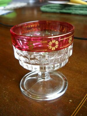 Cranberry Ruby Flash Inverted Square Sherbet Dessert Glass ITALY Gold Flowers