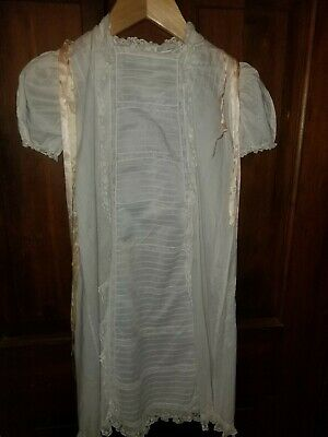 """Antique Lace Tucked Christening Dress 28"""" Long 15"""" Across Under Arms"""