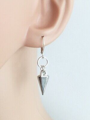 Rivet Style Spike Punk Earrings 925 Sterling Silver Plated Leverback Wires UK