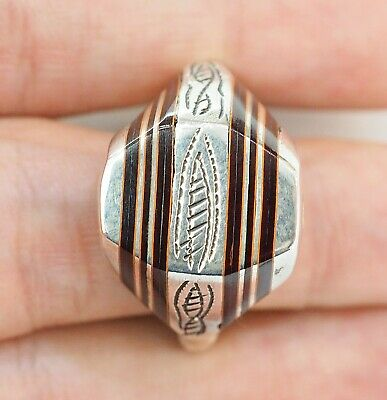 Antique Intaglio Waves Arab Thick Polished Sterling Silver brown Stripe  Ring