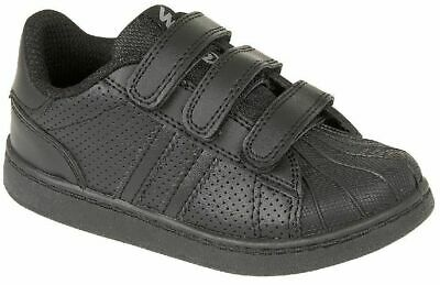 Kids Boys Girls INFANT Infant ALL Black Touch Strap Trainers School Sports SHOES