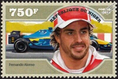 FERNANDO ALONSO Formula One GP F1 Racing Driver & Renault Car Stamp (2014 Niger)