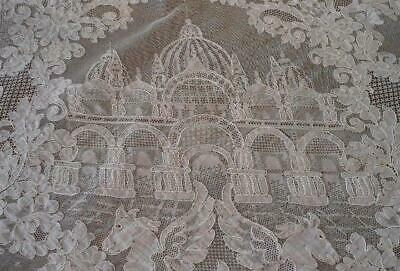 Vintage French Alencon Lace Tablecloth Figural Castles Veil Made France 87""