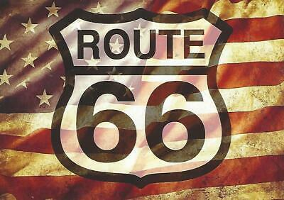 Route 66 Postcard U S Flag 8 States Chicago to Los Angeles American Icon New