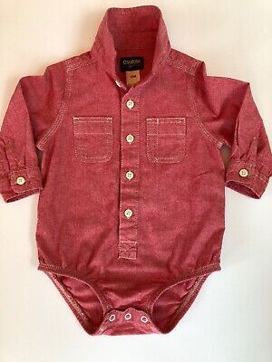 Oshkosh Infant Boys 1/pc L/S Button Front wCollar & Pockets (18mo) Red