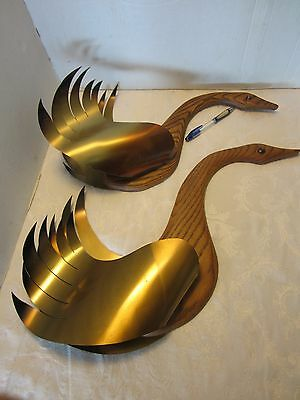 "Pair 2 Mid-Century MASKETEERS Flying Geese Wall Sculpture 1960 Brass Oak 23 ½"" L"