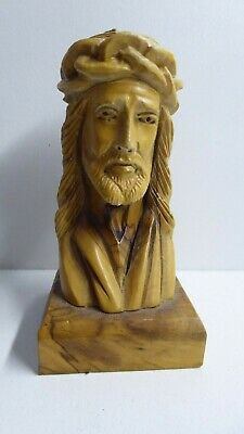 Vintage Religious Jesus Head Bust Olive Wood Timber Carved Statue