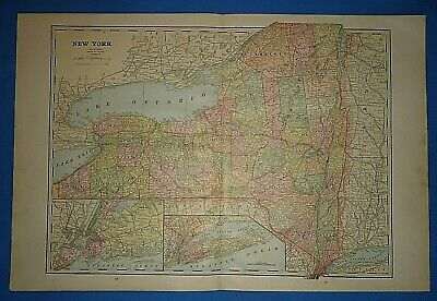 Vintage 1891 NEW YORK STATE Old Antique Original Atlas Map 51419